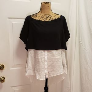 Postmark Black and white off the shoulder top